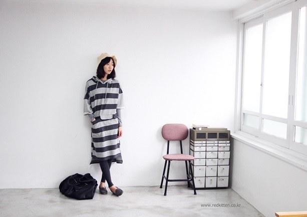Dual hood stripe dress 2Color