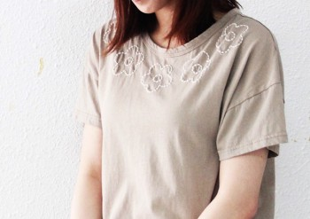 Flower Embroidery T -2Color