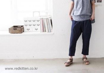 Cute line linen pants -3Color