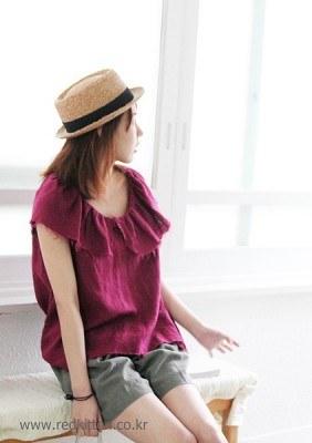 Vintage linen blouse -Pink