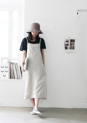 Linen dress with suspenders -3Color