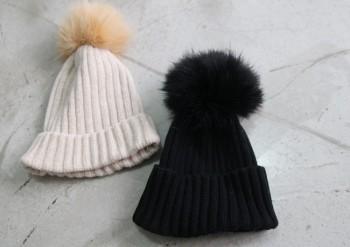 Rabbit fur knitted hat -Beige