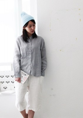 China Linen blouse -Gray