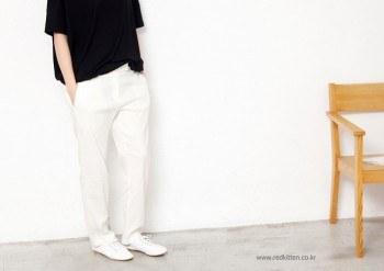 Sale - Tencel pleated pants - White - Medium 69800 -> 29000