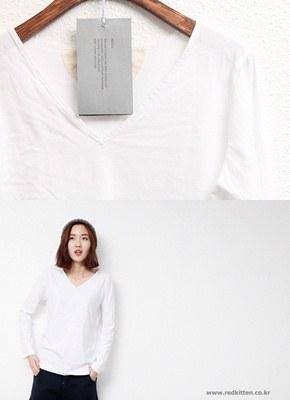 War ssingmyeon bias tape V-neck Tee - long sleeves, short sleeves