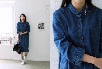 Basic color Blue Dress
