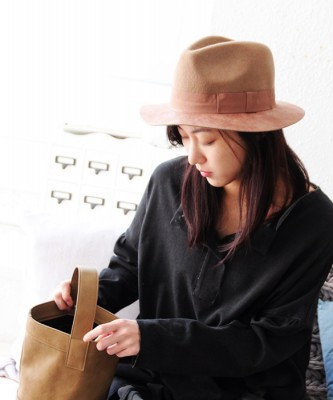 Color leather fedora