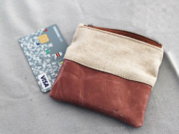 Linen color leather mini wallet - It's handmade