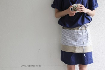 Linen color work apron - handmade