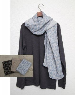 Flower linen scarf -3Color