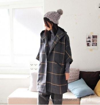 Sale - hooded coat check -dark grey 89800 -> 55000