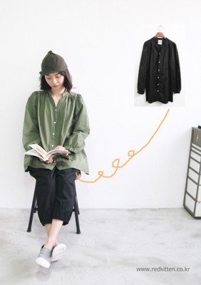 Wrinkled blouse 3Color