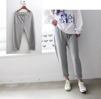 Jjuri spun cotton pants button -2Color