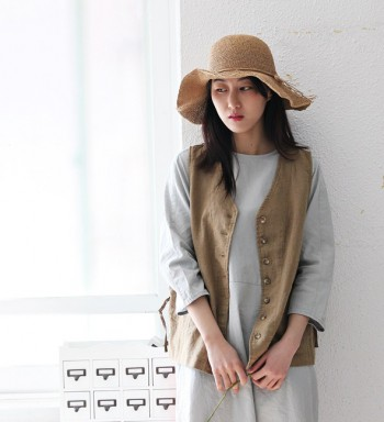 Button linen vest -3Color