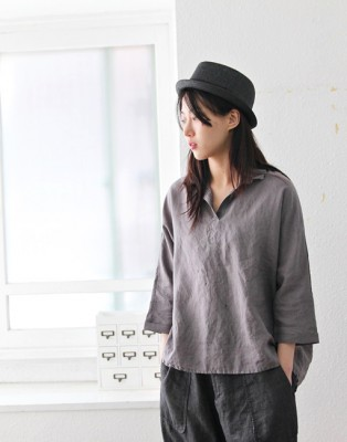 Simple linen shirt -3Color