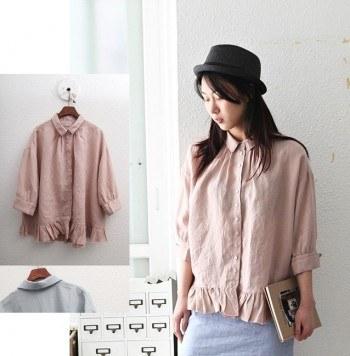 SALE - Plain Frill Blouse-Pink 49800 -> 35000