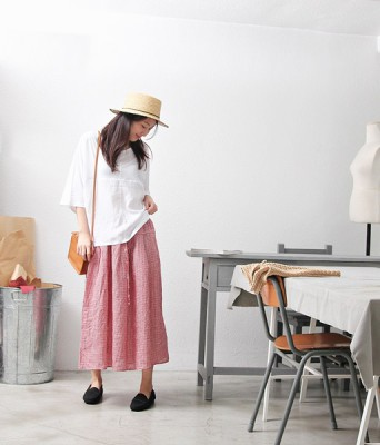 Linen Check Long Skirt -2Color