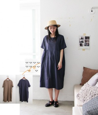 Top Pocket Long Dress -3Color