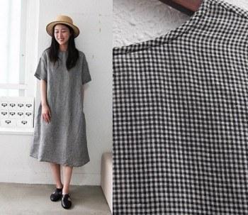 Jean Check Linen Dress - Black