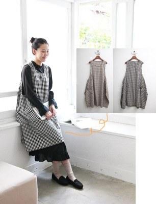 Check vest dress -2Color