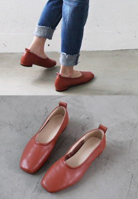 Square Leather Loafers - Cowhide