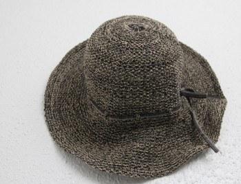 Natural Wire Boca brim hat -dark gray