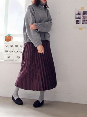 Check wool wrinkle skirt -2Color