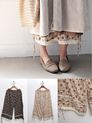 Flower lace pants -2Color