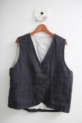 Linen double vest -2Color
