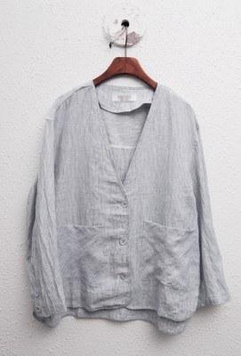 Linen blue line jacket