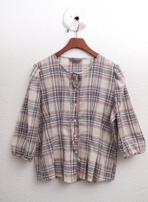 Sailor - Check Pint Chest Blouse - Open and put on cardigan ^^ 43800 -> 31800