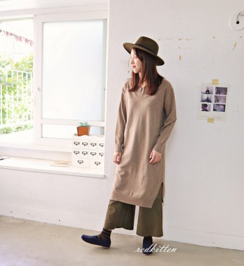 Cache wool V neck dress