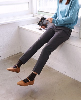Span brushed simple pants - It's brushed on the inside.