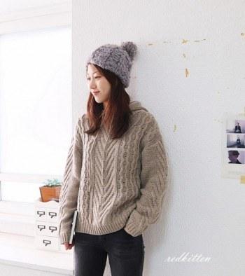 Soft twill wool hood knit -2Color
