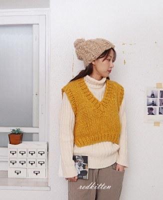 Handmade knitted vest -2Color