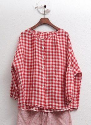 Check Linen Puff Sleeve Blouse -2Color