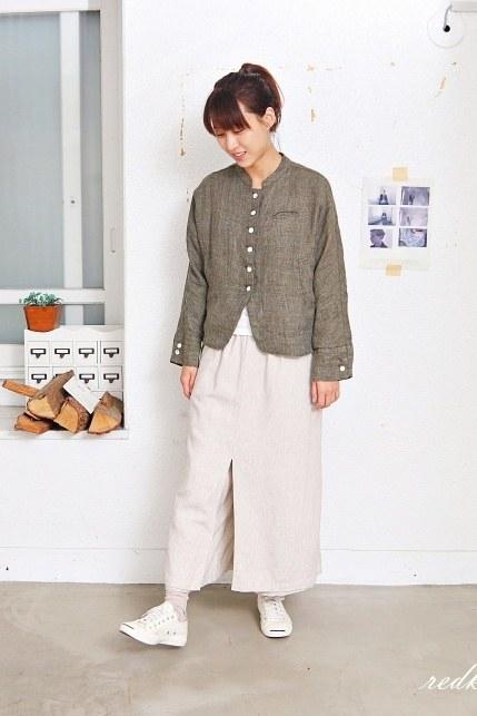 Sale-Casa linen jacket-Khaki 115600-> 79000
