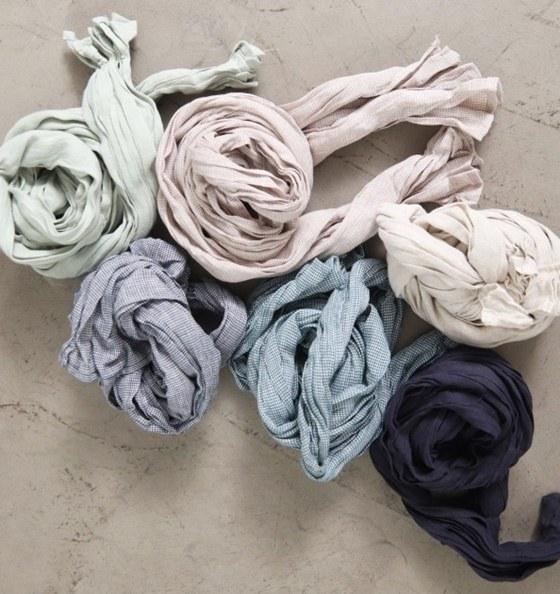 Linen check scarf